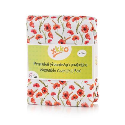 Waschbare Wickelunterlage XKKO 50x70 - Red Poppies