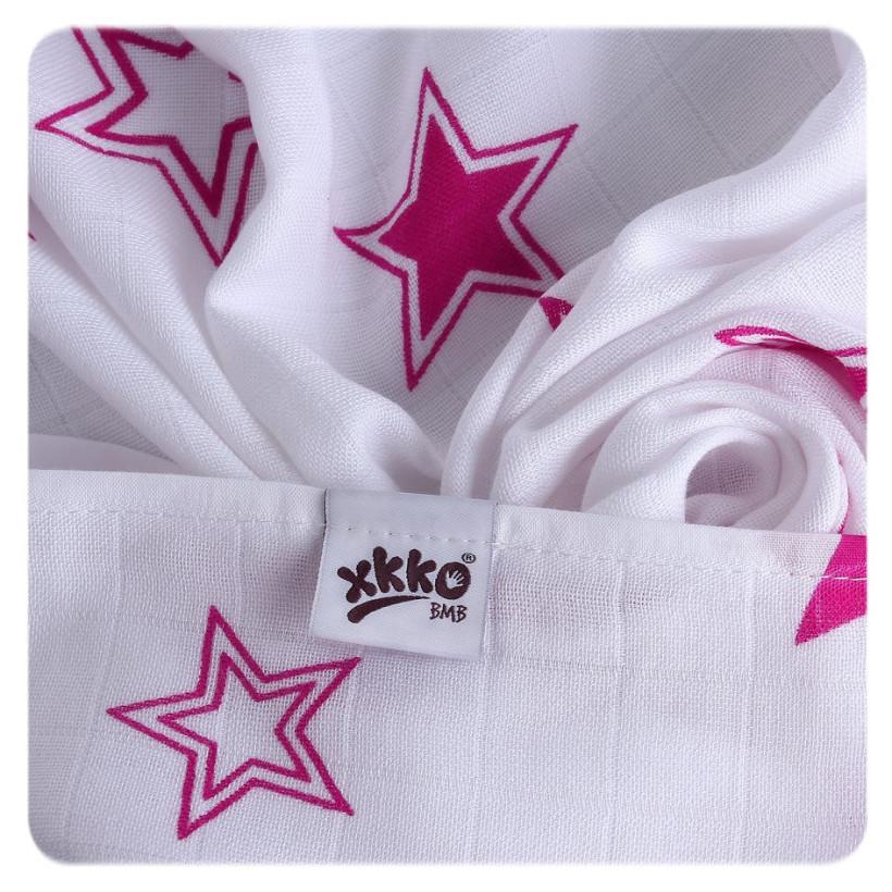 XKKO BMB  Windeltücher 90x100 - Magenta Stars 1St.