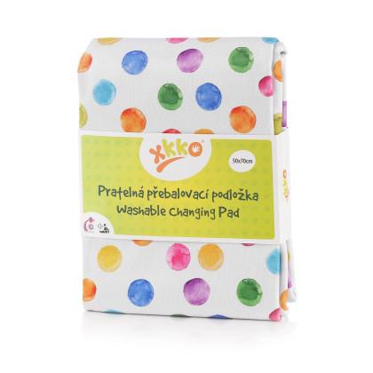 Waschbare Wickelunterlage XKKO 50x70 - Watercolour Polka Dots