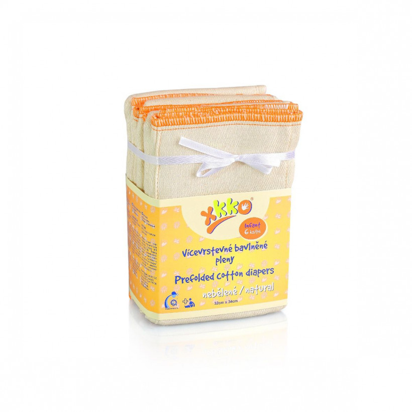 XKKO Classic Faltwindeln (4/8/4) - Infant Natural 6x6er Pack (GH Packung)
