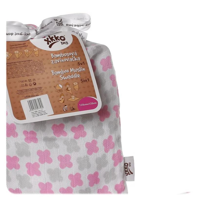 XKKO BMB Bambus Musselinwickeltuch 120x120 - Scandinavian Baby Pink Cross 1 St.