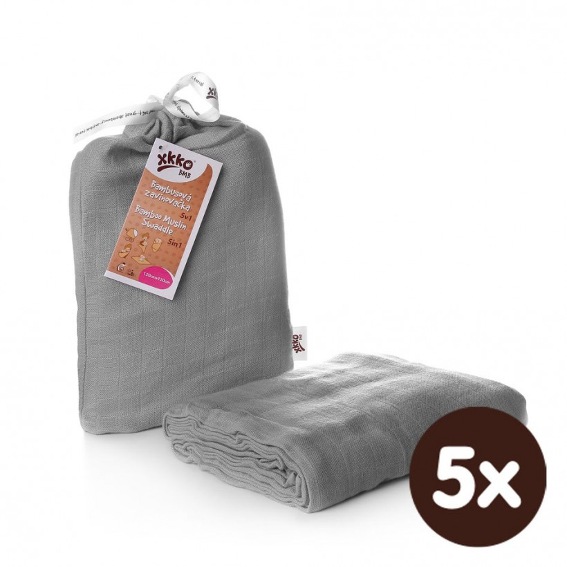 XKKO BMB Bambus Musselinwickeltuch 120x120 - Silver 5x1 St. (GH packung)