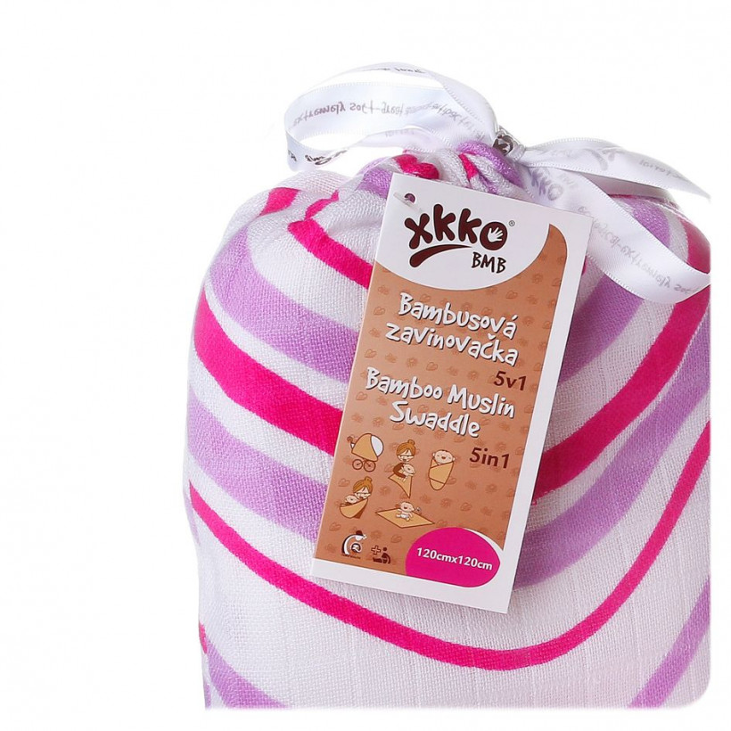 XKKO BMB Bambus Musselinwickeltuch 120x120 - Lilac Waves 5x1 St. (GH packung)