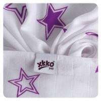 XKKO BMB Musselin Bambuswindeln 70x70 -  Lilac Stars MIX 3er Pack