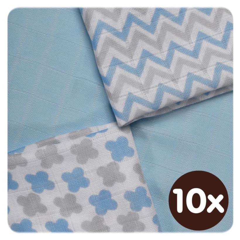 XKKO BMB Bambuswindeln 30x30 - Scandinavian Baby Blue MIX 10x9er Pack (GH packung)