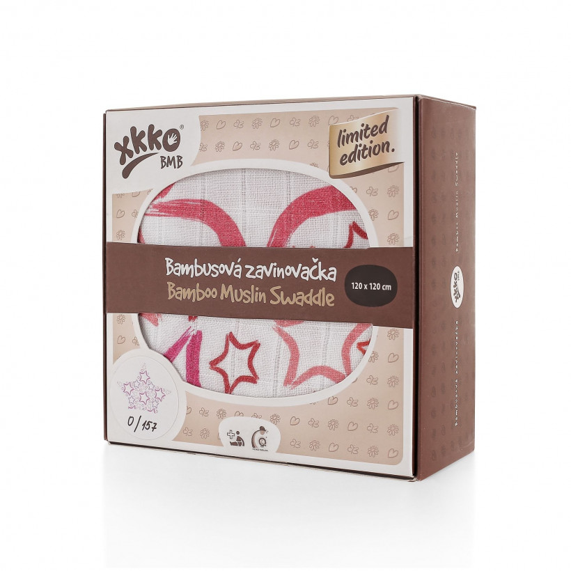 XKKO BMB Bambus Musselinwickeltuch 120x120 - Limited Edition Big Red Star 1 St.