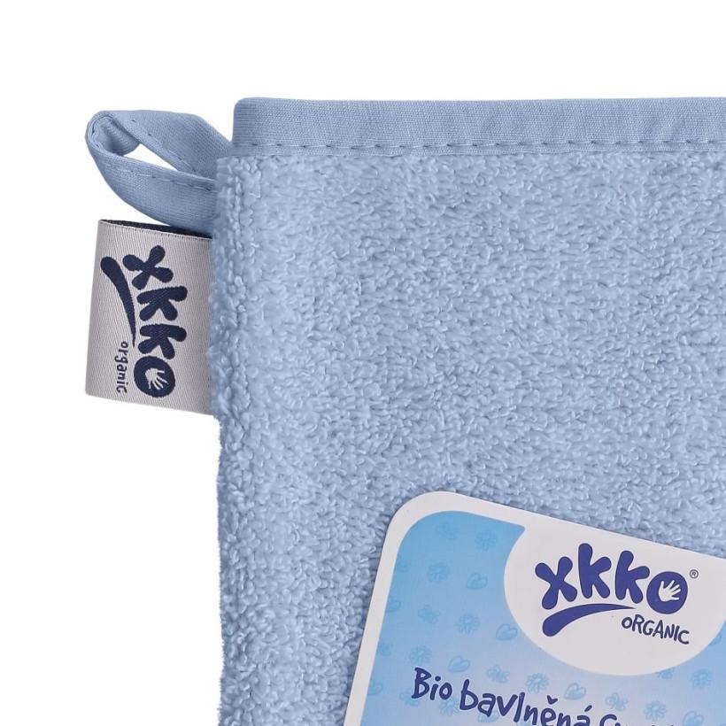 BIO baumwollefrotteewaschlappen XKKO Organic - Baby Blue 5x1St. (GH pack.)