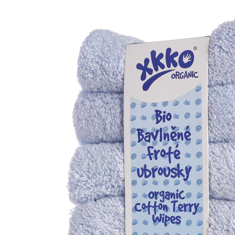 BIO baumwollefrotteetücher XKKO Organic 21x21 - Baby Blue 5x6er Pack (GH pack.)