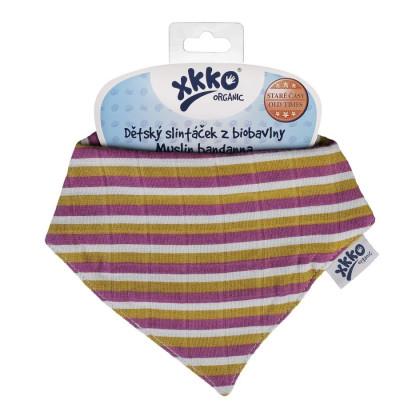 Kinderschal XKKO Organic Old Times - Violet Stripes 1St.
