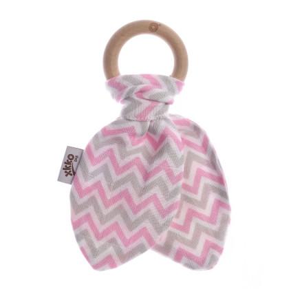 XKKO BMB Beissring mit Blätter - Chevron Baby Pink 1St.