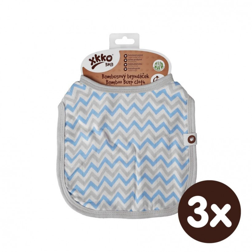 XKKO BMB Kinderlätzchen - Baby Blue Chevron 3x1St. (GH Packung)