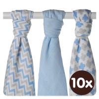 XKKO BMB Musselin Bambuswindeln 70x70 - Scandinavian Baby Blue MIX 10x3er Pack (GH packung)