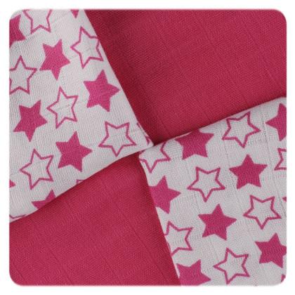 XKKO BMB Bambuswindeln 30x30 - Little Stars Magenta MIX 9er Pack