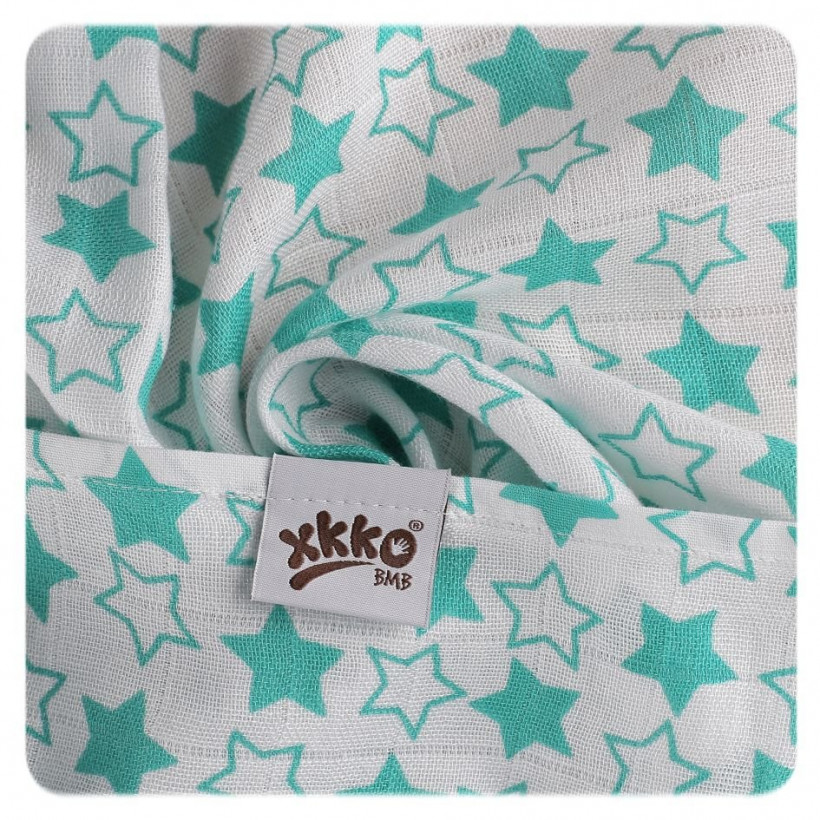 XKKO BMB Musselin Bambuswindeln 70x70 - Little Stars Turquoise MIX 10x3er Pack (GH packung)