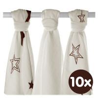 XKKO BMB Musselin Bambuswindeln 70x70 - Natural Brown Stars MIX 10x3er Pack (GH packung)