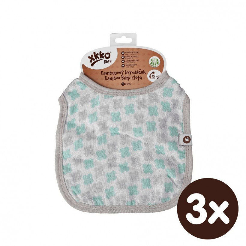 XKKO BMB Kinderlätzchen - Mint Cross 3x1St. (GH Packung)