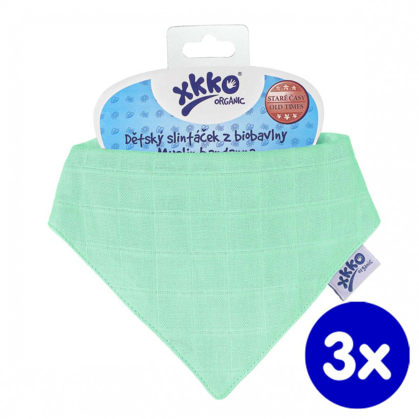 Kinderschal XKKO Organic Old Times - Light Green 3x1St. (GH Packung)