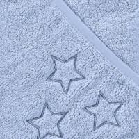 BIO Baumwollefrotteebadetuch mit Kapuze XKKO Organic 90x90 - Baby Blue Stars 5x1St. (GH pack.)