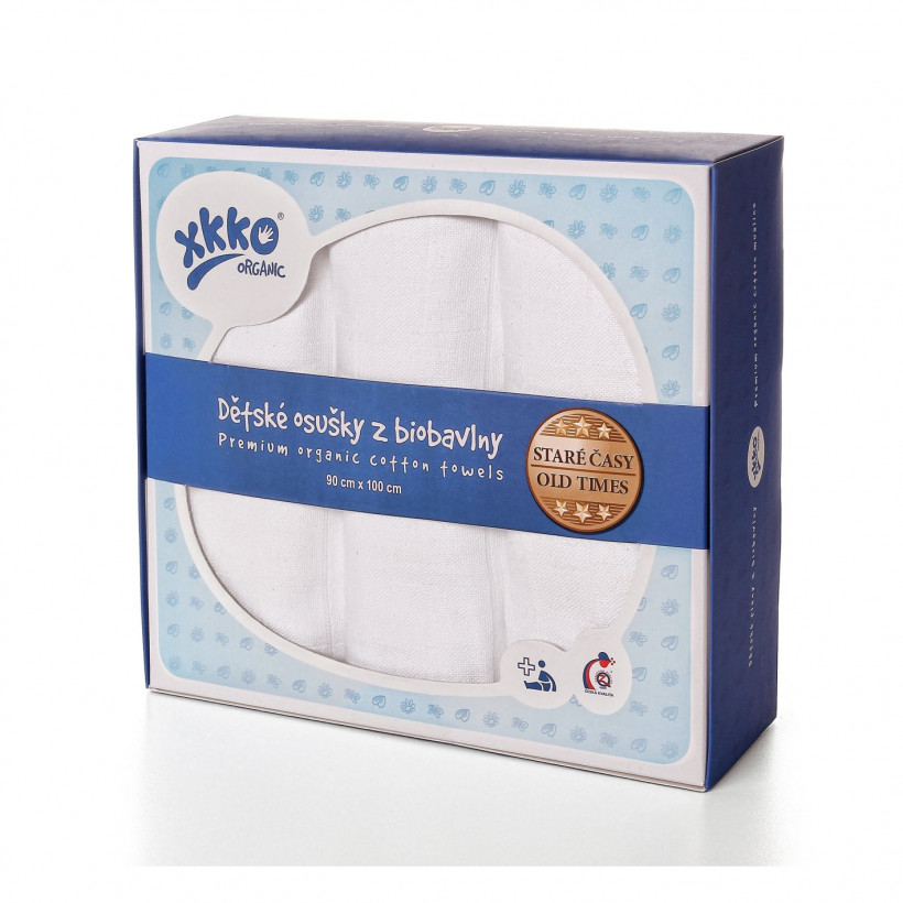 BIO Windeltücher XKKO Organic Old Times 90x100 - White 3er Pack