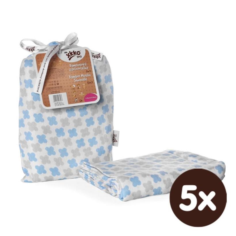 XKKO BMB Bambus Musselinwickeltuch 120x120 - Scandinavian Baby Blue Cross  5x1 St. (GH packung)