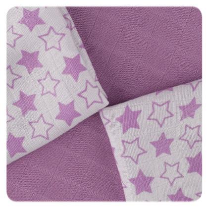 XKKO BMB Bambuswindeln 30x30 - Little Stars Lilac MIX 9er Pack