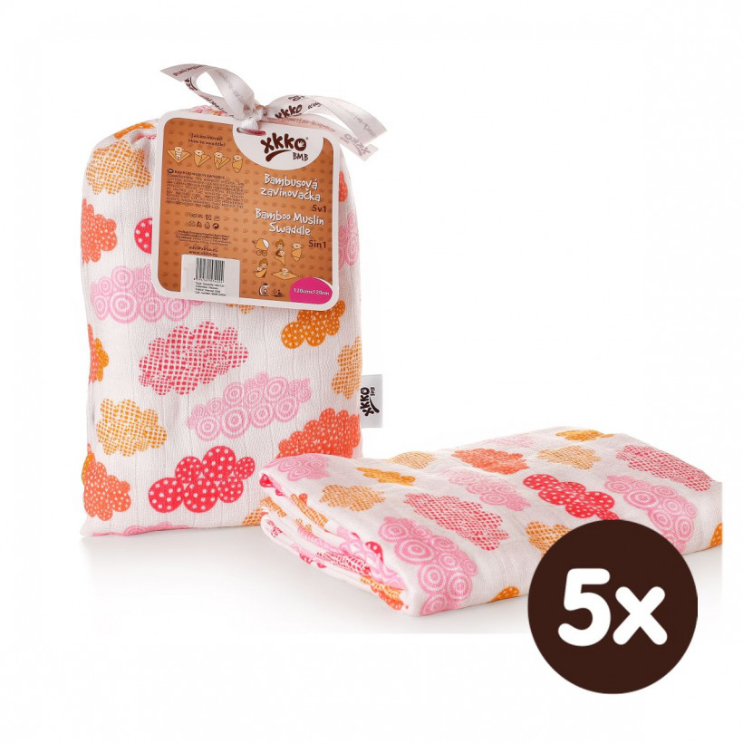 XKKO BMB Bambus Musselinwickeltuch 120x120 - Heaven For Girls 5x1 St. (GH packung)