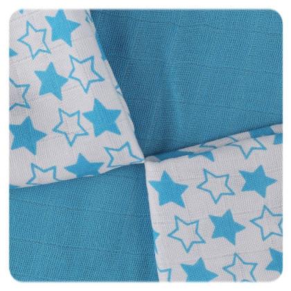 XKKO BMB Bambuswindeln 30x30 - Little Stars Cyan MIX 9er Pack