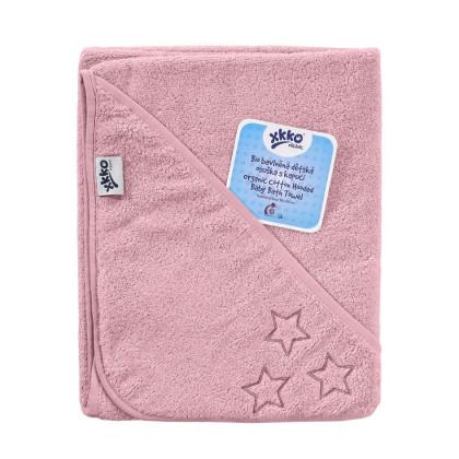 BIO Baumwollefrotteebadetuch mit Kapuze XKKO Organic 90x90 - Baby Pink Stars 1St.