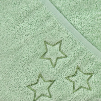 BIO Baumwollefrotteebadetuch mit Kapuze XKKO Organic 90x90 - Mint Stars 1St.