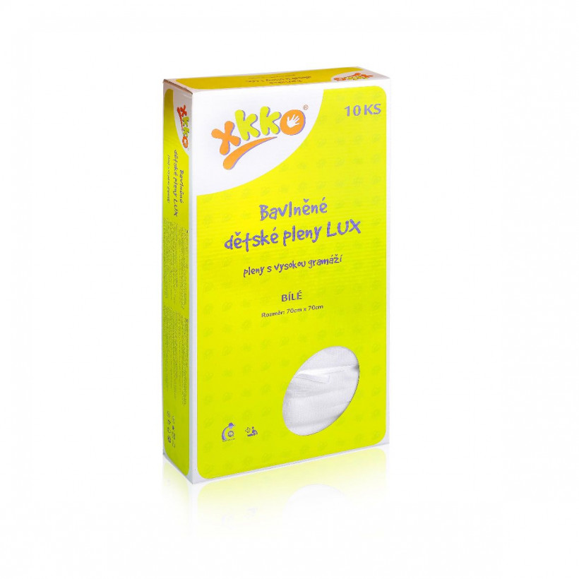 Baumwollwindeln XKKO LUX 70x70 - White 20x10er Pack (GH Packung)