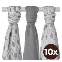 XKKO BMB Musselin Bambuswindeln 70x70 - Little Stars Silver MIX 10x3er Pack (GH packung)