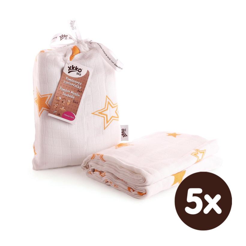 XKKO BMB Bambus Musselinwickeltuch 120x120 - Orange Stars 5x1 St. (GH packung)