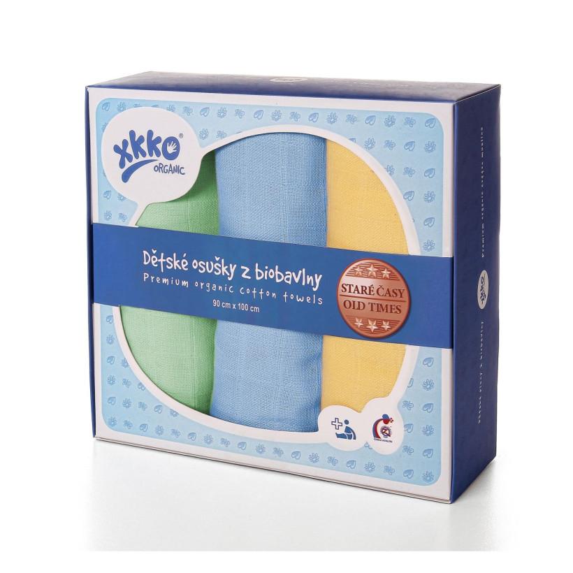 BIO Windeltücher XKKO Organic Old Times 90x100 - Pastels For Boys 3er Pack