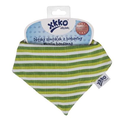 Kinderschal XKKO Organic Old Times - Green Stripes 1St.