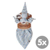XKKO BMB Bambus-Schnuffeltuch - Baby Blue Chevron 5x1St. (GH Packung)