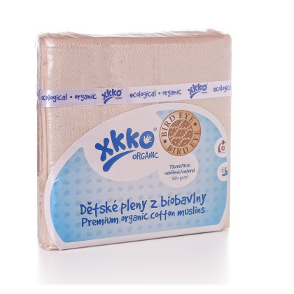 BIO-Baumwolle Windeln XKKO Organic 70x70 Bird Eye - Natural 5er Pack
