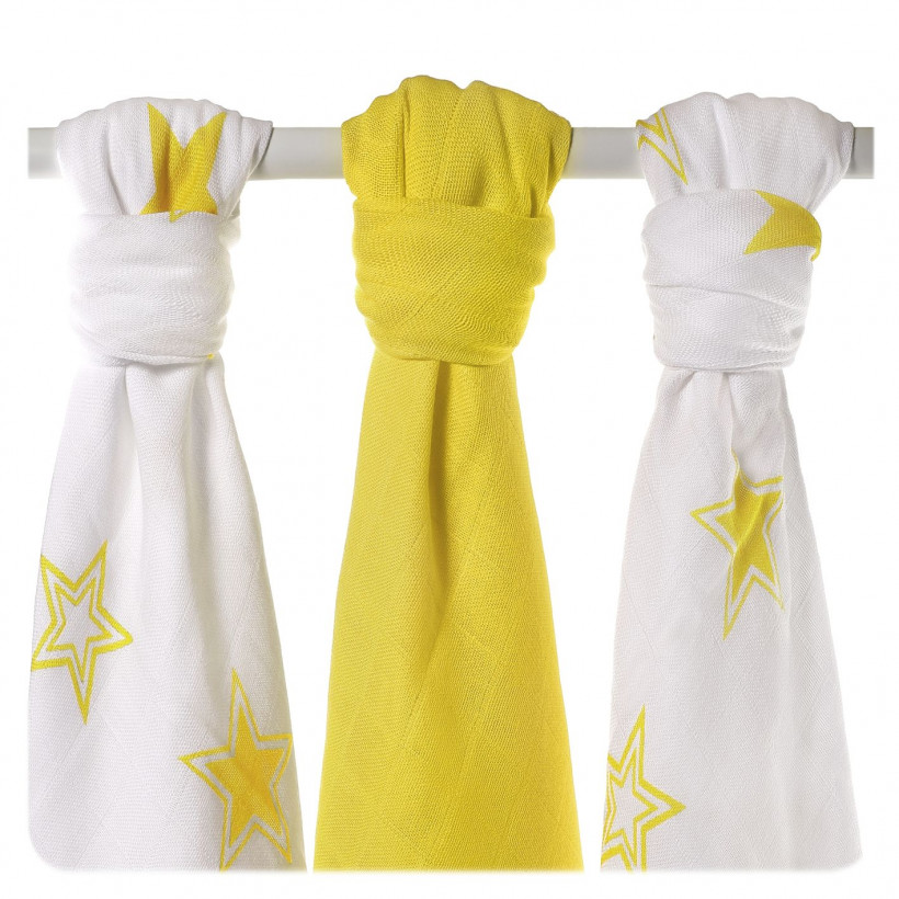 XKKO BMB Musselin Bambuswindeln 70x70 - Lemon Stars MIX 10x3er Pack (GH packung)