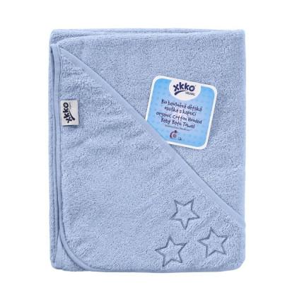 BIO Baumwollefrotteebadetuch mit Kapuze XKKO Organic 90x90 - Baby Blue Stars 1St.