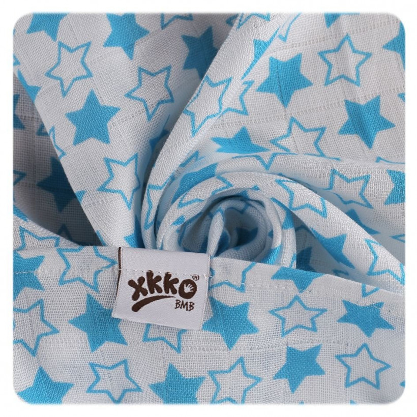 XKKO BMB Musselin Bambuswindeln 70x70 - Little Stars Cyan MIX 10x3er Pack (GH packung)