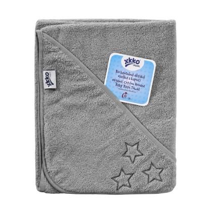 BIO Baumwollefrotteebadetuch mit Kapuze XKKO Organic 90x90 - Silver Stars 1St.
