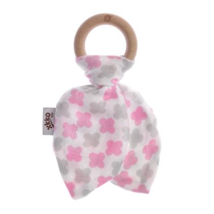 XKKO BMB Beissring mit Blätter - Baby Pink Cross 1St.