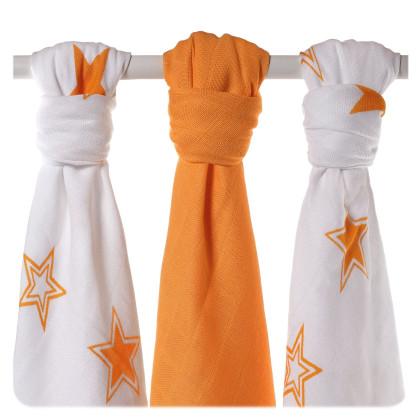 XKKO BMB Musselin Bambuswindeln 70x70 - Orange Stars MIX 3er Pack