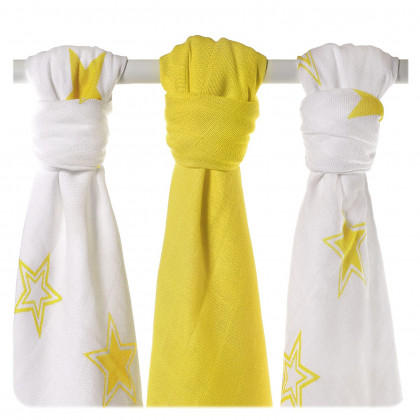 XKKO BMB Musselin Bambuswindeln 70x70 - Lemon Stars MIX 3er Pack
