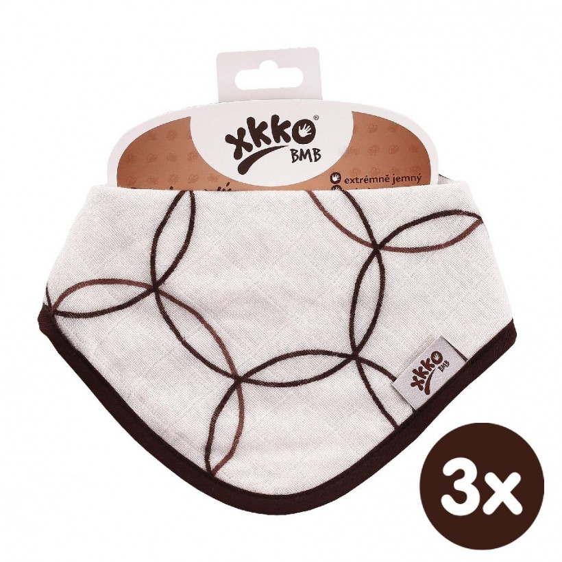 Kinderschal XKKO BMB - Natural Brown Circles 3x1 St. (GH packung)
