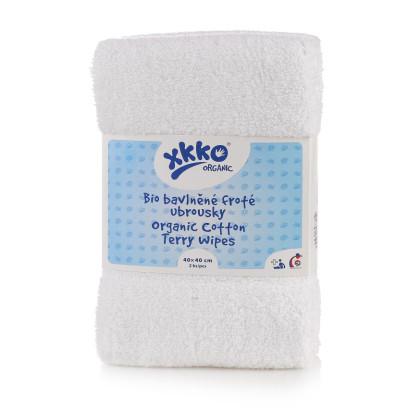 BIO baumwollefrotteetücher XKKO Organic 40x40 - White 2er Pack