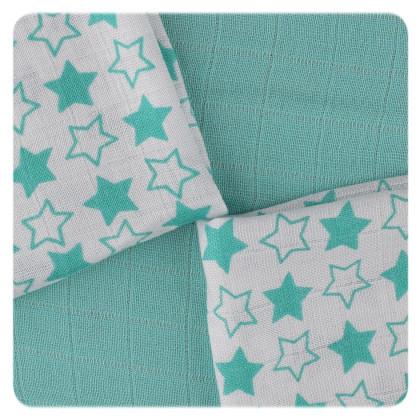 XKKO BMB Bambuswindeln 30x30 - Little Stars Turquoise MIX 9er Pack