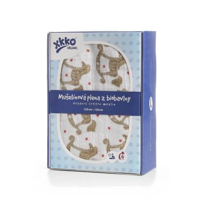 XKKO Organic Bio-Baumwolle Windel 120x120 - Rocking Horses Gold 1St.