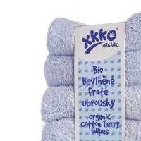 BIO baumwollefrotteetücher XKKO Organic 21x21 - Baby Blue 6er Pack