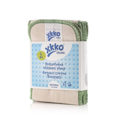 XKKO Organic Twill Booster - Natural Grosse L 6er Pack