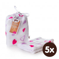 XKKO BMB Bambus Musselinwickeltuch 120x120 - Lilac Hearts 5x1 St. (GH packung)